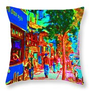 Blue Cafe In Springtime Throw Pillow