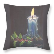 Blue Candle Throw Pillow