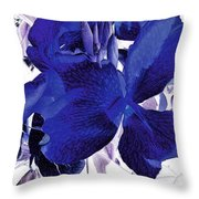 Blue Canna Lily Throw Pillow