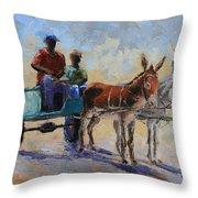 Blue Cart Throw Pillow