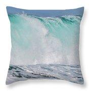 Blue Cascade   Hawaiian Wave Throw Pillow