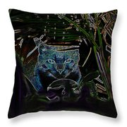 Blue Cat In The Garden Throw Pillow