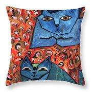 Blue Cats Throw Pillow