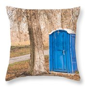 Blue Chemical Toilet In The Park Throw Pillow