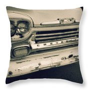 Blue Chevy Truck Grill Bw Throw Pillow