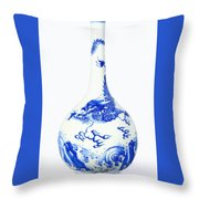 Blue  Chinese Chinoiserie Pottery Vase No 5 Throw Pillow