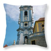 Blue Church Tower In Durnstein Throw Pillow