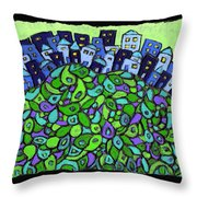Blue City On A Hill Throw Pillow