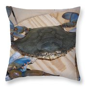 Blue Claw Crab Throw Pillow