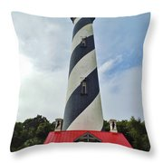 Blue Clouds At The Lighthouse Throw Pillow