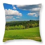 Blue Cloudy Sky Over Green Hills And Country Road Throw Pillow