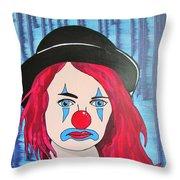 Blue Clown Throw Pillow