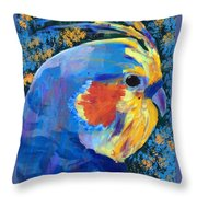 Blue Cockatiel Throw Pillow