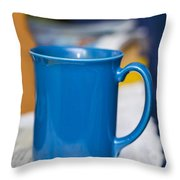 Blue Coffee Cup Throw Pillow