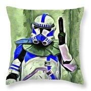 Blue Commander Stormtrooper At Work - Da Throw Pillow