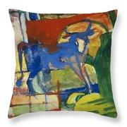 Blue Cow Throw Pillow