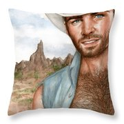 Blue Cowboy Throw Pillow