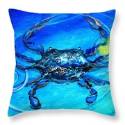 Blue Crab Abstract Throw Pillow