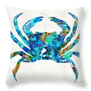 Blue Crab Art By Sharon Cummings Throw Pillow