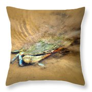 Blue Crab Hiding In The Sand Throw Pillow
