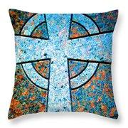 Blue Marbled Cross Throw Pillow