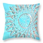 Blue Crystal Snowflake Throw Pillow