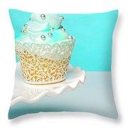 Blue Cupcake Throw Pillow