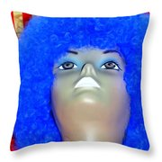 Blue Curled Cutie Throw Pillow