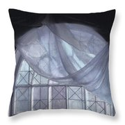 Hand-painted Blue Curtain In An Arch Window Throw Pillow