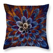 Blue Dahlia Throw Pillow