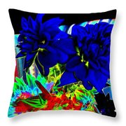 Blue Dahlias Throw Pillow