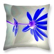 Blue Daisy Delight Throw Pillow
