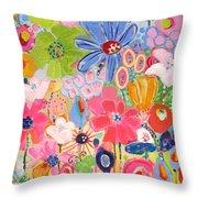 Blue Daisy Flower Garden Throw Pillow