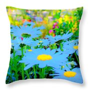Blue Daisy Throw Pillow