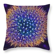 Blue Dandelion Throw Pillow