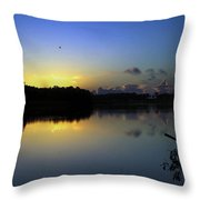 Blue Dawn At Dirickson Creek Throw Pillow