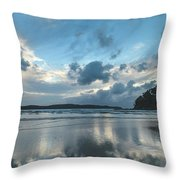 Blue Dawn Seascape With Cloud Reflections Throw Pillow