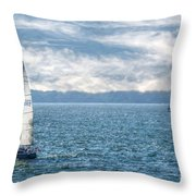 Blue Days On Lake Erie Throw Pillow