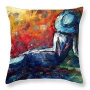 Blue Daze Original Madart Painting Throw Pillow