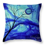 Blue Depth Abstract Original Acrylic Landscape Moon Painting By Megan Duncanson Throw Pillow