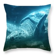 Blue Depths Sea Turtle Throw Pillow