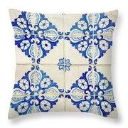 Blue Diamond Flower Tiles Throw Pillow