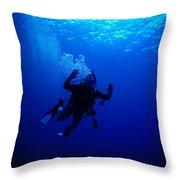 Blue Diver Throw Pillow