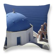 Blue Dome Pink Bell Tower Throw Pillow