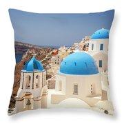 Blue Domed Churches Santorini Throw Pillow