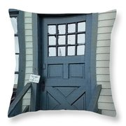 Blue Door At The Seaport Throw Pillow