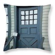 Blue Door At The Seaport Throw Pillow