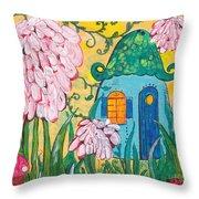 Blue Door Fairy House Throw Pillow