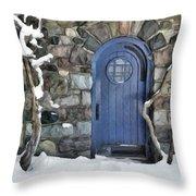Blue Door In February Throw Pillow