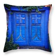 Blue Door In Old Town Throw Pillow